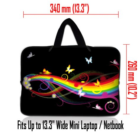Netbook Sleeve Carrying Case w/ Hidden Handle - Rainbow Butterfly