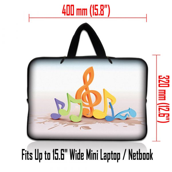 Netbook Sleeve Carrying Case w/ Hidden Handle - Musical Notes