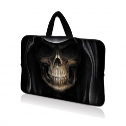 Netbook Sleeve Carrying Case w/ Hidden Handle - Hooded Dark Lord Skull