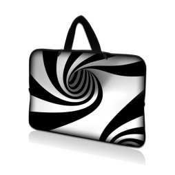 Netbook Sleeve Carrying Case w/ Hidden Handle - Tornado White and Black Swirl