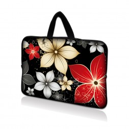 Netbook Sleeve Carrying Case w/ Hidden Handle - Black Gray Red Flower Leaves