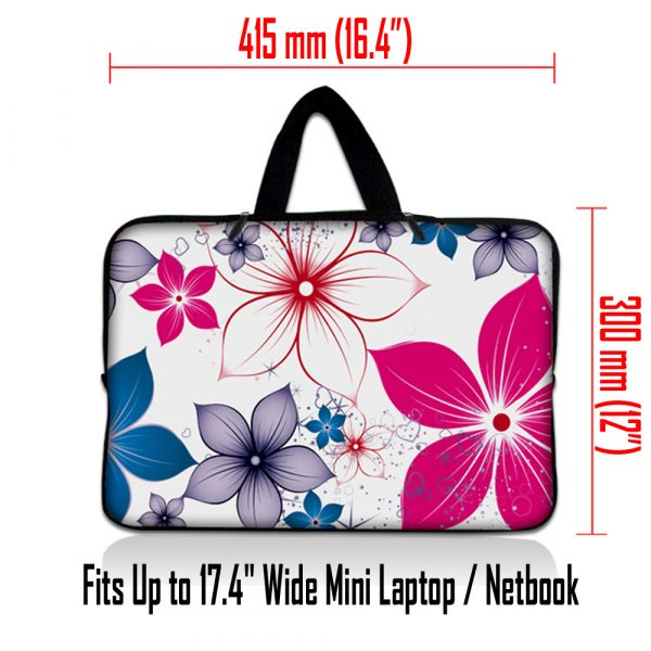 Netbook Sleeve Carrying Case w/ Hidden Handle - White Pink Blue Flower Leaves