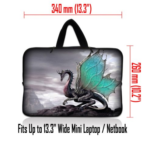 Netbook Sleeve Carrying Case w/ Hidden Handle - Flying Dragon
