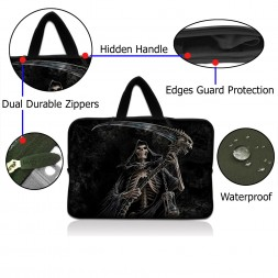Netbook Sleeve Carrying Case w/ Hidden Handle - Reaper Skull