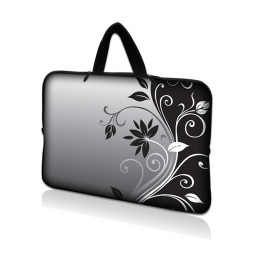 Netbook Sleeve Carrying Case w/ Hidden Handle - Gray Black Swirl Floral