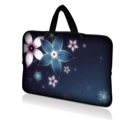 Netbook Sleeve Carrying Case w/ Hidden Handle - Plumeria Flower Floral