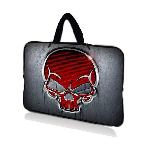Netbook Sleeve Carrying Case w/ Hidden Handle - Silver Red Skull