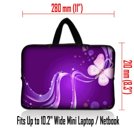 Netbook Sleeve Carrying Case w/ Hidden Handle - Purple Butterfly Floral