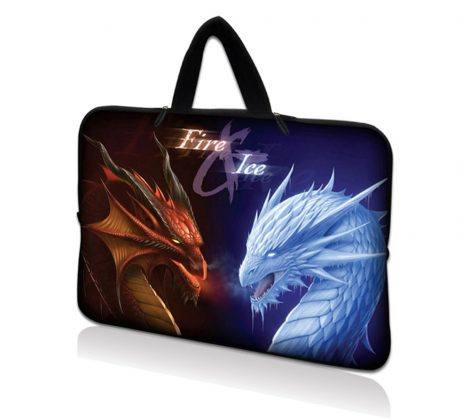 Netbook Sleeve Carrying Case w/ Hidden Handle - Fire & Ice Dragons