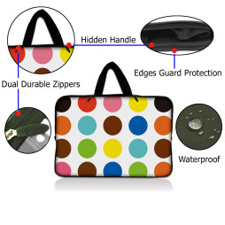 Netbook Sleeve Carrying Case w/ Hidden Handle - Polka Dots