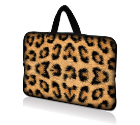Netbook Sleeve Carrying Case w/ Hidden Handle - Leopard Print