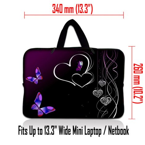 Netbook Sleeve Carrying Case w/ Hidden Handle - Butterfly Heart Floral