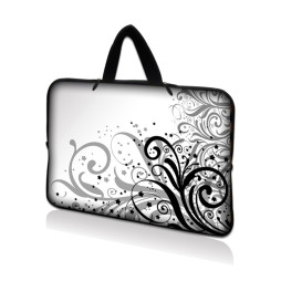 Netbook Sleeve Carrying Case w/ Hidden Handle - Grey Swirl Black & White Floral