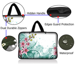 Netbook Sleeve Carrying Case w/ Hidden Handle - Pink Flower Floral