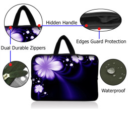 Netbook Sleeve Carrying Case w/ Hidden Handle - Purple Flower Floral