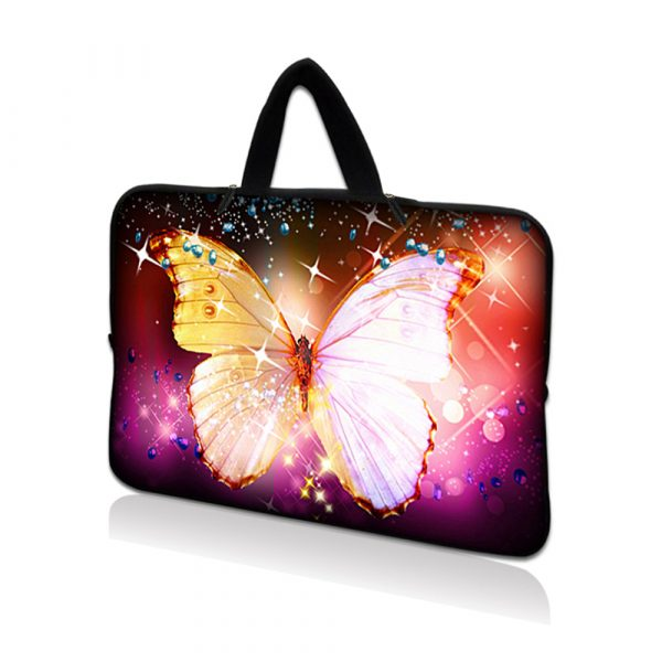 Netbook Sleeve Carrying Case w/ Hidden Handle - Sparkling Butterfly