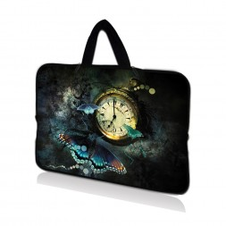 Netbook Sleeve Carrying Case w/ Hidden Handle - Clock Butterfly Floral