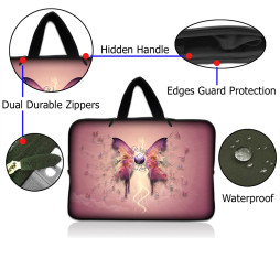 Netbook Sleeve Carrying Case w/ Hidden Handle - Pink Butterfly Floral