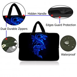 Netbook Sleeve Carrying Case w/ Hidden Handle - Blue Dragon