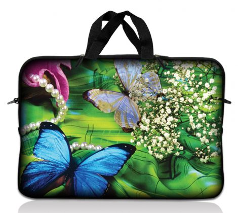 Notebook / Netbook Sleeve Carrying Case w/ Handle – Butterfly Floral