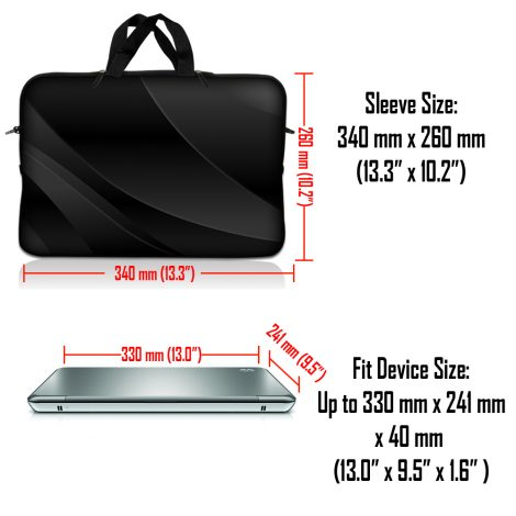 Notebook / Netbook Sleeve Carrying Case w/ Handle – Twilight Gray Black