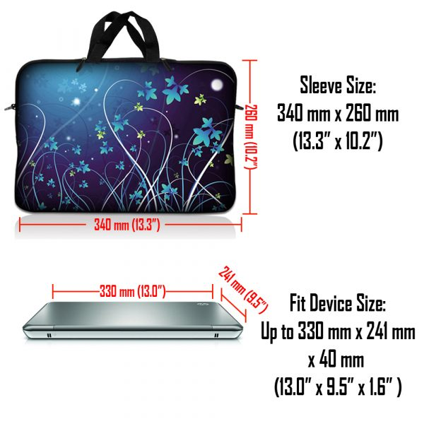 Notebook / Netbook Sleeve Carrying Case w/ Handle – Blue Swirl Mid Summer Night Floral