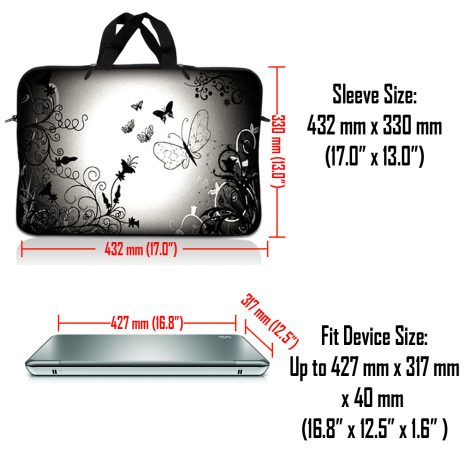 Notebook / Netbook Sleeve Carrying Case w/ Handle – Dark Contrast Fade Butterfly