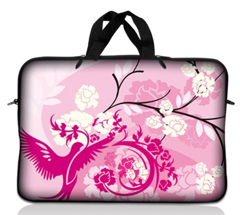 Notebook / Netbook Sleeve Carrying Case w/ Handle – Pink White Roses Bird Floral