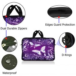 Notebook / Netbook Sleeve Carrying Case w/ Handle – Purple Butterfly