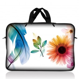 Notebook / Netbook Sleeve Carrying Case w/ Handle – Daisy Flower Leaves Floral