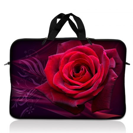 Notebook / Netbook Sleeve Carrying Case w/ Handle – Pink Rose Floral Flower
