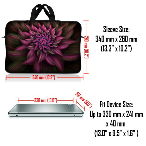Notebook / Netbook Sleeve Carrying Case w/ Handle – Purple Floral Flower