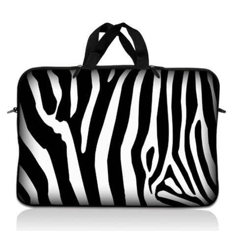 Notebook / Netbook Sleeve Carrying Case w/ Handle – Zebra Print