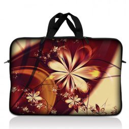 Notebook / Netbook Sleeve Carrying Case w/ Handle – Gold Flower Floral
