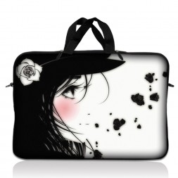 Notebook / Netbook Sleeve Carrying Case w/ Handle – Girl with White Rose