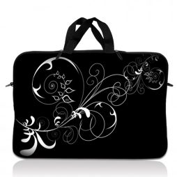 Notebook / Netbook Sleeve Carrying Case w/ Handle – Vines Black and White Swirl Floral