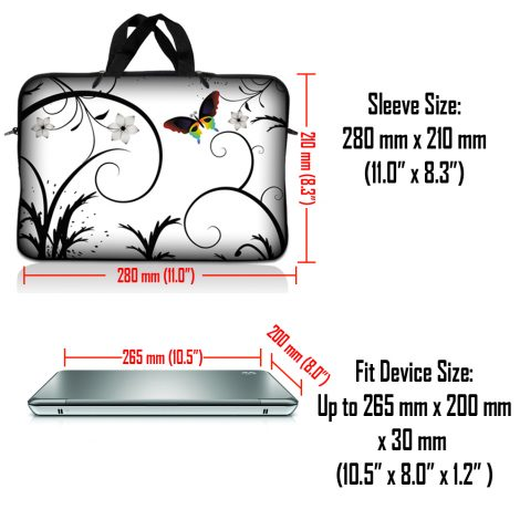Notebook / Netbook Sleeve Carrying Case w/ Handle – White Butterfly Escape Floral