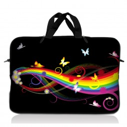 Notebook / Netbook Sleeve Carrying Case w/ Handle – Rainbow Butterfly