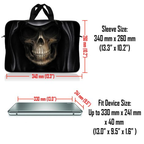 Notebook / Netbook Sleeve Carrying Case w/ Handle – Hooded Dark Lord Skull