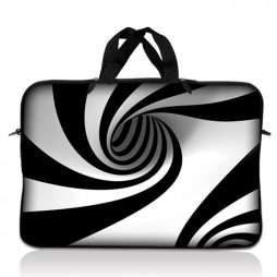 Notebook / Netbook Sleeve Carrying Case w/ Handle – Tornado White and Black Swirl