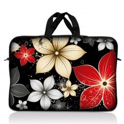Notebook / Netbook Sleeve Carrying Case w/ Handle – Black Gray Red Flower Leaves