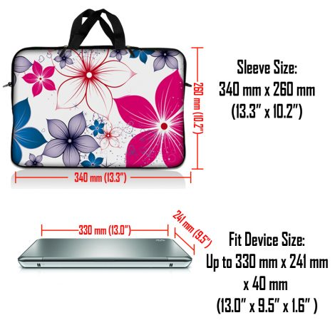 Notebook / Netbook Sleeve Carrying Case w/ Handle – White Pink Blue Flower Leaves