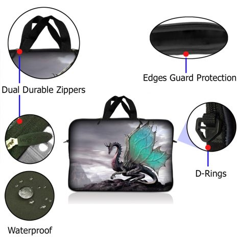 Notebook / Netbook Sleeve Carrying Case w/ Handle – Flying Dragon