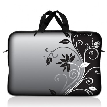 Notebook / Netbook Sleeve Carrying Case w/ Handle – Gray Black Swirl Floral