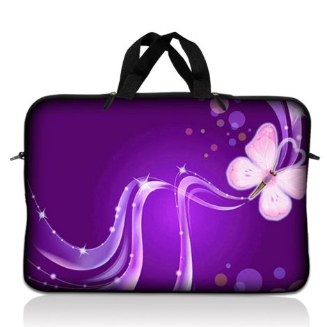 Notebook / Netbook Sleeve Carrying Case w/ Handle – Purple Butterfly Floral