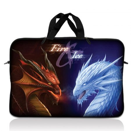 Notebook / Netbook Sleeve Carrying Case w/ Handle – Fire & Ice Dragons