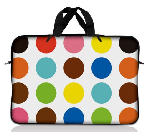 Notebook / Netbook Sleeve Carrying Case w/ Handle – Polka Dots