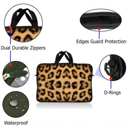Notebook / Netbook Sleeve Carrying Case w/ Handle – Leopard Print