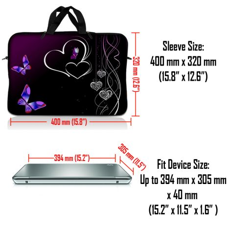 Notebook / Netbook Sleeve Carrying Case w/ Handle – Butterfly Heart Floral
