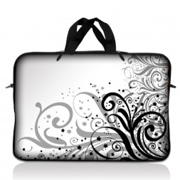 Notebook / Netbook Sleeve Carrying Case w/ Handle – Grey Swirl Black & White Floral